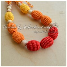 Red Orange Yellow Teething necklace / nursing by GerberaHandmade, $25.00