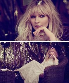 Who What Wear Blog Kirsten Dunst Madame Figaro Hollywood Confidential Photographer James White Stylist Cécile Martin Celebrity Fashion Editorial Romantic Lace Dress Bangs Beauty Hair