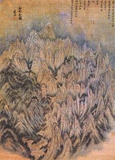 Korean art - General View of Mt. Geumgang by Jeong Seon Korean Painting, Chinese Painting, Canvas Art, Canvas Prints, Chinese Landscape, China Art, Inspirational Artwork, Korean Artist, Traditional Art