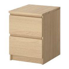 MALM Kommode mit 2 Schubladen - Eichenfurnier weiß lasiert - IKEA