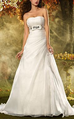 A-line Princess Strapless Court Train Organza Wedding Dress #escherpe