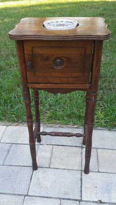 Wood Smoking Stand Table Cabinet Humidor Ashtray VINTAGE SHERATON CUT GLASS #Sheraton #UNKNOWN