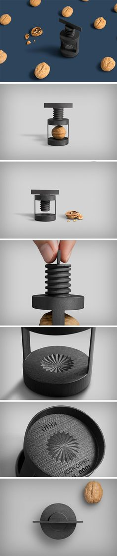 The Torq rejects the idea that a powerful product can't look elegant. The Torq explores a simple aesthetic with pleasant looking design details, and binds them together with a fun product experience. Completely 3D printed from steel, the matte black Torq cracks walnuts with ease. Just place them in the concavity marked by the design detail and twist the key down. Like a vice grip, it slowly begins exerting pressure on the nut, finally cracking it.