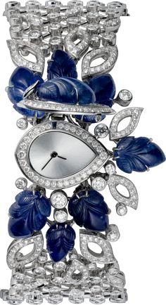 High Jewelry secret hour watch Small model, rhodiumized 18K white gold, diamonds