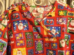 PEACHES Christmas Scrubs Top Women's Size 3XL Santa Snowman Red FAST SHIPPING!!! #Peaches