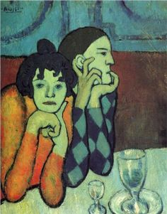 Two acrobats (Harlequin and his companion) - Pablo Picasso 1901...a very calculated composition...notice the lines on the wall directs the eye to the male figure...the glass teases the edge of the spot where table and bench meet, interrupting a visual exit...