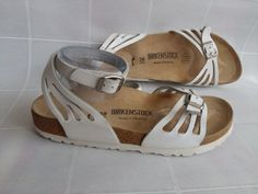 e4b252b670c0 RARE BIRKENSTOCK White Leather Womens Sandals US 7 EU 38 Narrow