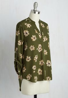 Office Politic Top in Olive Floral. When it comes to looking sensible, your style is par excellence - and this olive green blouse is proof of that! #green #modcloth