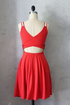 DERICA in Poppy  Jumper dress with pockets // by FleetCollection, $48.00