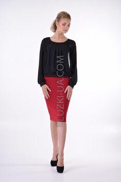b15b02899aa Черная трикотажная блуза с шифоновыми драпировками и прозрачными рукавами