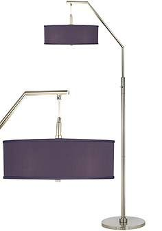 eggplant faux silk arc floor lamp