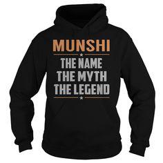 [Top tshirt name origin] MUNSHI The Myth Legend Last Name Surname T-Shirt Discount Best Hoodies, Funny Tee Shirts