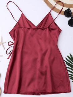 Cami Wrap Slip Dress - WINE RED M