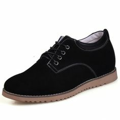 Black Suede Leather tall Casual shoes for men increase height 6cm / 2.36inches invisibly