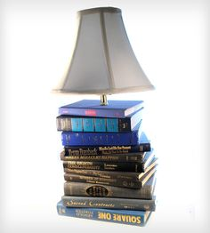 Don't you keep seeing this kind of thing? Stack of books remade into a lamp, a single book carved into a box, a clock, shoes, I don't know what else—you see them too. Are you as ambivalent as I am? For so long I've felt books are more than physical artifacts but somehow embody art and science, literacy, history and a connection across generations. It is hard to shake these associations to accept desecrated books as art or utility. Oh, lamp, from Love Hue Studios, is $200. [25-11-13]
