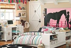 teenage girl bedroom. i love the picture behind the bed!