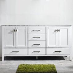 "Gracie Oaks Guang 60"" Single Bathroom Vanity Set | Wayfair Vanity Set With Mirror, Vanity Sink, Vanity Countertop, Vanity Tops, Kitchen Countertops, White Double Vanity, Frameless Shower Doors, Bathroom Flooring, Bathroom Cabinets"