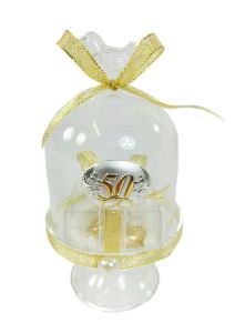 Glass bell jar dome with bird lid with silver 50th Wedding Anniversary emblem, decorated with gold ribbon and containg a favour pouch filled with a choice of dragees. This is a very special, elegant, superior, luxe golden wedding anniversary 50th favour favor #italian #bomboniere #50th #golden #favour #favor #anniversary