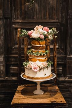 Naked wedding cake with fresh flowers // A Midsummer Night's Dream: Sean and Dawn's Wedding