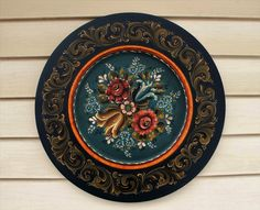 """Norwegian Rosemaling ~ Hand Painted in Valdres Style on a 18"""" Flat Rimed Beaded Plate by Folkartbycathy on Etsy"""