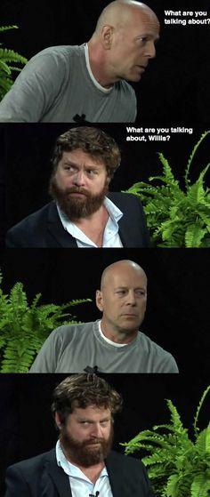 Zach Galifianakis interviews Bruce Willis.