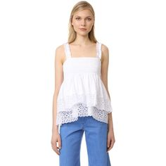 Tory Burch Georgette Top ($148) ❤ liked on Polyvore featuring tops, tiered top, lace trim top, frilly shirt, georgette tops and lining shirts
