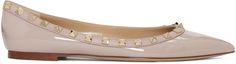 VALENTINO Pink Patent Rockstud Ballerina Flats. #valentino #shoes #flats