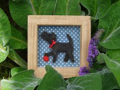 A Lovingly Hand Crafted Needle Felted Dog With A Ball In A Glazed Wooden Box Frame by FeltTed on Etsy https://www.etsy.com/listing/240733336/a-lovingly-hand-crafted-needle-felted