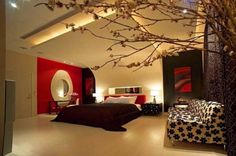 love the idea of tree in bedroom