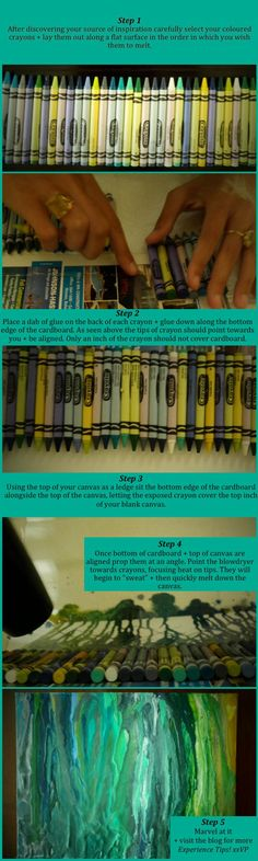 How to make melted crayon art…without gluing the crayon to the canvas