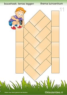 Deel 2: 15 voorbeeldkaarten om een terras te leggen in de bouwhoek, kleuteridee, thema tuincentrum, make a terrace in the block area 11. Preschool Centers, Preschool Math, Kindergarten, Block Center, Block Area, Cube Pattern, Pattern Blocks, Cube World, Block Play