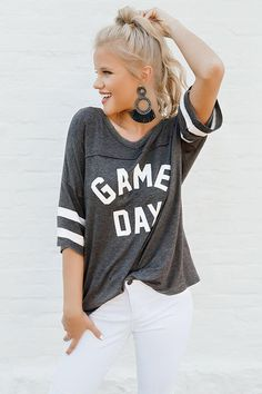 77e48971da Game Day Varsity Shift Tee in Charcoal • Impressions Online Boutique Denim  Skirt