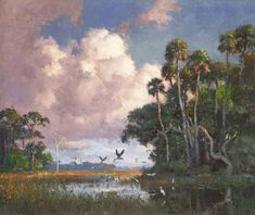 "A.E. Backus Gallery & Museum: ""Egrets and Ibis""by A.E. Backus (24"" x 30"")"