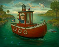 "Marion Peck  ""The Happy Captain""    Oil on panel    19"" x 24""    2003"