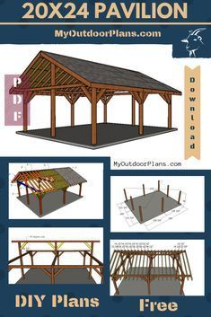 This step by step diy woodworking project is about a outdoor pavilion plans. I have designed this backyard rectangular pavilion made from lumber. This pavilion has a gable roof with a sturdy lumber. Wooden Pavilion, Glass Pavilion, Backyard Pavilion, Outdoor Pavilion, Backyard Gazebo, Backyard Patio Designs, Outdoor Gazebos, Pavilion Wedding, Pavilion Grey