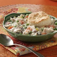 Chicken and Biscuits Pot Pie Recipe from Taste of Home -- shared by Valerie Belley of St. Louis, Missouri