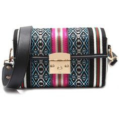 Women Bag Crossbody Ethnic Style Lock Multicolor Geometric Design Leather Strap #LFS #MessengerCrossBody