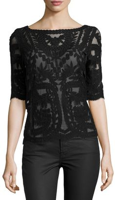 Laundry by Shelli Segal Mesh & Lace Boat-Neck Top, Black