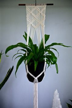 Macrame Plant Hanger Natural White Cotton Rope by BermudaDream