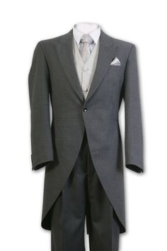Morning suit, grey for afternoon wedding/black for evening wedding.