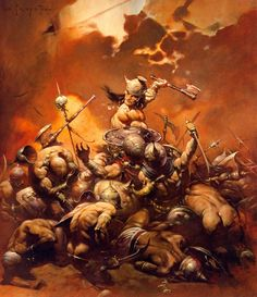 Every artist who has dabbled in Sword and Sorcery illustration in the last fifty years is building on the legacy of the great Frank Frazetta. Boris Vallejo, Red Sonja, Frank Frazetta Conan, Illustrations, Illustration Art, Conan The Destroyer, Bd Art, Conan The Barbarian, Barbarian Movie