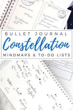 """Creative bullet journal layouts: An Outer Space & Constellations theme for your journal & planner. I keep it simple and minimalist, but like to add a hint of art and creativity with stars, planets, and moons for my layouts. I hope you can get inspiration for your own journaling from this """"Constellation"""" and """"Space"""" bujo aesthetic."""