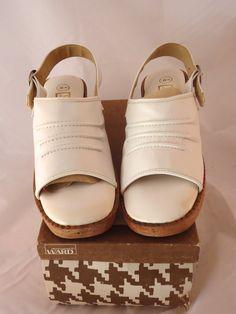 Dead Stock w/ Box 60s Quality White Mod Clog Sandals Split Platform Wedge Cork Sole Heel Sling Size 8B by aintweswank on Etsy