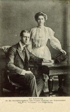 Prince Andrew of Greece and Denmark and his wife Princess Alice of Battenberg. Parents of Prince Philip, Duke of Edinburgh
