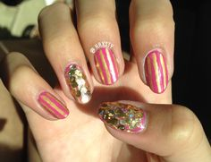 Essie- Funny face Pink and gold stripes with gold glitter accent OPI- When monkeys fly