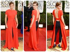 Emma Watson wore this Dior Couture gown-pant mix-up at the 2014 Golden Globes.