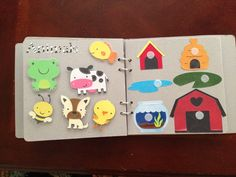 Matching animals to their homes for quiet book Diy Quiet Books, Baby Quiet Book, Felt Quiet Books, Infant Activities, Preschool Activities, Activities For Kids, Preschool Education, Baby Crafts, Felt Crafts