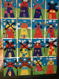 Molen vouwen Diy For Kids, Crafts For Kids, Windmill Art, Holland Windmills, Cultural Crafts, World Crafts, Baby Art, Patch Quilt, Art Classroom