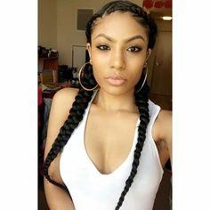 Feed in braids. # two Braids with weave Box Braids Hairstyles, Two Braids Hairstyle Black Women, Sporty Hairstyles, French Braid Hairstyles, Braids For Black Women, Braids For Black Hair, My Hairstyle, 2 Cornrow Braids, Side Braids