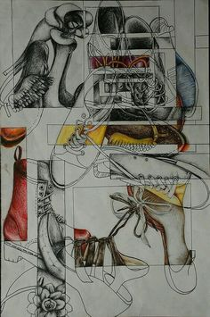 Secondary High School Art drawing a collection example shoes - Art Education ideas Drawing Lessons, Drawing Projects, Drawing Tips, Drawing Ideas, Drawing Techniques, Drawing Classes, Ap Studio Art, Middle School Art, Art School
